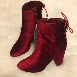 { rue 21 } • red tie up booties